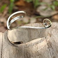 Sterling silver cuff bracelet, 'Silver Wave'