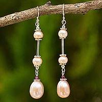 Pearl dangle earrings, 'Pink Lotus' - Handmade Bridal Sterling Silver and Pearl Earrings