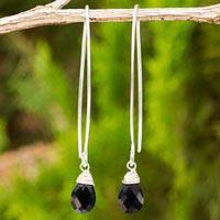 Black spinel dangle earrings, 'Sublime' - Sterling Silver and Black Spinel Drop Earrings