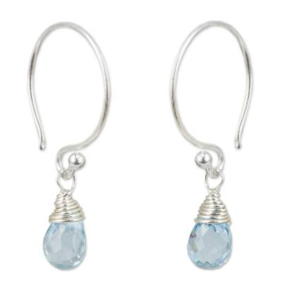 Thai Sterling Silver and Blue Topaz Dangle Earrings
