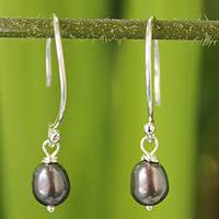 Pearl dangle earrings, 'Ocean Queen' - Fair Trade Pearl Dangle Earrings