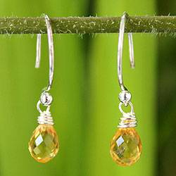 Citrine dangle earrings, 'Sparkling Dewdrop' - Silver Citrine Earrings