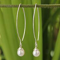 Pearl dangle earrings, 'Sublime'