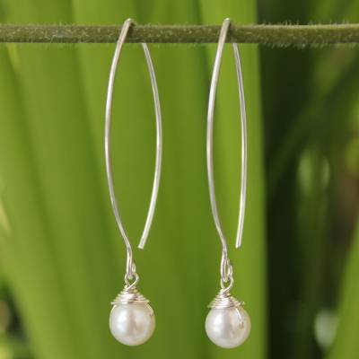 Pearl dangle earrings, 'Sublime' - Thai Sterling Silver and Pearl Earrings