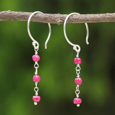 Ruby dangle earrings, 'Swinging in the Rain' - Ruby dangle earrings