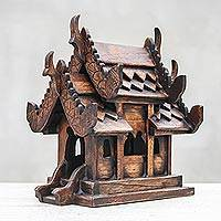 Teak spirit house, 'Vihara Spirit House' - Hand Made Teak Sculpture