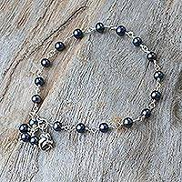 Pearl floral bracelet, 'Black Rose Horizon' - Pearl and Silver Bracelet