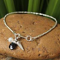 Pearl and black spinel pendant bracelet, 'Harmony' - Fair Trade Silver and Spinel Bracelet