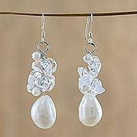 Pearl and quartz cluster earrings, 'Icicles'