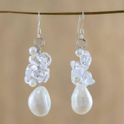 Pearl and quartz cluster earrings, 'Icicles' - Pearl and Quartz Cluster Earrings