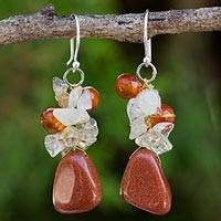 Quartz and carnelian cluster earrings,