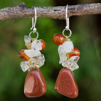 Quartz and carnelian cluster earrings, 'Bouquet' - Hand Crafted Multigem Cluster Earrings