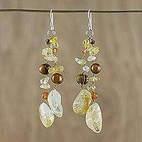 Pearl and citrine waterfall earrings,