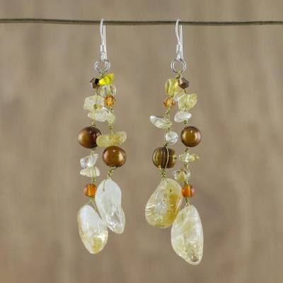 Pearl and citrine waterfall earrings, 'Dazzling Earth' - Pearl and Citrine Waterfall Earrings