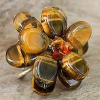 Tiger's eye cocktail ring, 'Tawny Paradise' - Artisan Crafted Tiger's Eye Ring