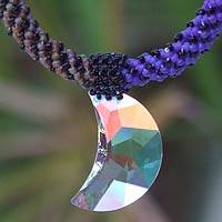 Beaded necklace, 'Moon of the Universe' - Beaded Glass Pendant Necklace
