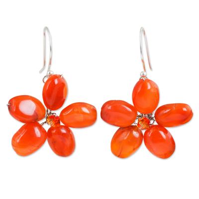 Handcrafted Floral Carnelian Earrings