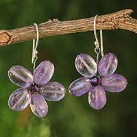 Amethyst floral earrings, 'Mystic Daisy' - Amethyst Flower Earrings