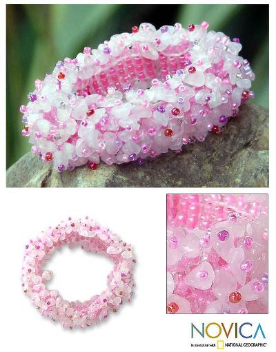 Quartz stretch bracelet, 'Perfect in Pink' - Handcrafted Beaded Quartz Bracelet