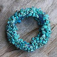 Beaded stretch bracelet, 'Beauty in Blue' - Turquoise Stretch Bracelet