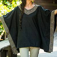 Cotton blouse, 'Flowing Nature in Black' - Cotton blouse