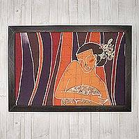 Batik art, 'The Beautiful Woman' - Batik Cotton Wall Art