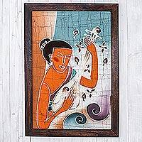 Batik art, 'Lanna Melodies' - Handcrafted Batik Cotton Wall Art
