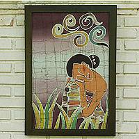 Batik art, 'Daydreams' - Batik Cotton Wall Art