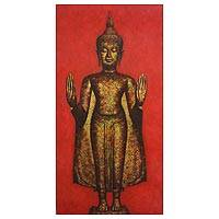 'Calming the Oceans' (2005) - Signed Expressionist Buddha Painting from Thailand (2005)