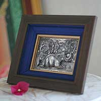 Aluminum repousse panel, 'Leisurely Elephants' - Fair Trade aluminium Repousse Relief Panel