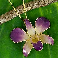 Natural orchid gold plated brooch pin necklace, 'Orchid Fantasy'