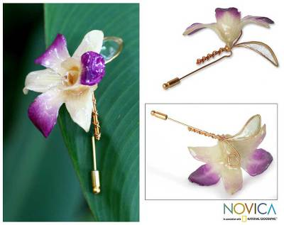 Natural orchid gold plated stickpin, 'Orchid Fantasy' - Gold Plated Natural Flower Brooch Pin