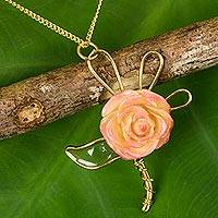 Natural rose gold plated flower necklace, 'Enchanted Rose' - Gold Plated Natural Flower Necklace