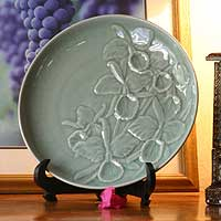 Celadon ceramic plate, 'Green Orchid' - Celadon ceramic plate