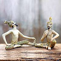 Celadon ceramic statuettes Yoga Masters pair Thailand
