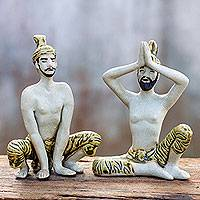 Celadon ceramic statuettes, 'Practicing Yoga' (pair) - Celadon ceramic statuettes (Pair)