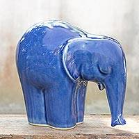Celadon ceramic statuette Blue Elephant medium Thailand