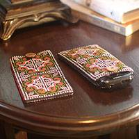 Cotton cell phone carriers, 'Distant Lands' (pair) - Hill Tribe Cotton Embroidered Cell Phone Cases (Pair)