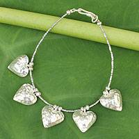Silver heart bracelet, 'Family of Five' - Heart Shaped 950g Silver Charm Bracelet