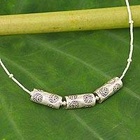 Silver pendant necklace, 'Three Amulets' - 950 Silver Beaded Necklace