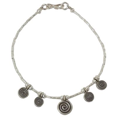 Handmade Sterling Silver Spiral Charm Bracelet from Thailand