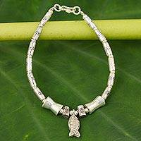 Silver dangling bracelet, 'Teach Me to Fish' - 950 silver dangling bracelet