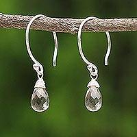 Smoky quartz dangle earrings, 'Smoky Teardrop' - Sterling Silver and Smoky Quartz Dangle Earrings
