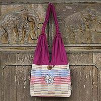 Cotton handbag, 'Siamese Blush' - Unique Cotton Shoulder Bag from Thailand