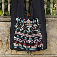 Cotton handbag, 'Tribal Tradition' - Cotton and Hemp Embroidered Sling Handbag