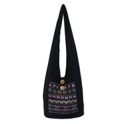 Cotton and Hemp Embroidered Sling Handbag