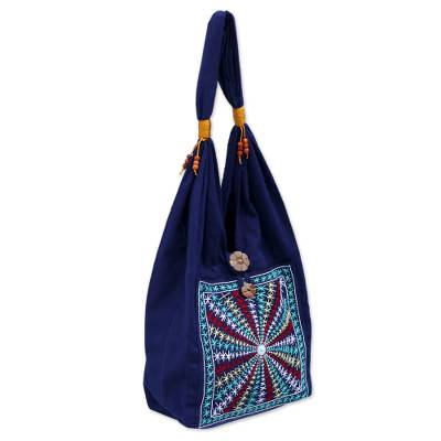 Cotton handbag, 'Star Shine' - Cotton handbag