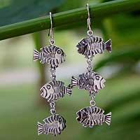 Sterling silver dangle earrings, 'Thai Fish' - Handmade Sterling Silver Dangle Earrings