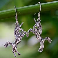 Sterling silver dangle earrings, 'Dance of the Unicorns' - Sterling Silver Dangle Earrings from Thailand