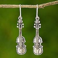 Sterling silver dangle earrings, 'Violin Symphony' - Silver Violin Earrings from Thailand
